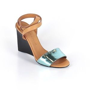 See by Chloe Light Blue Metallic Wedge Sandals